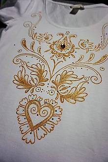 Tričká - folk tričko zlaté - 10599482_