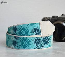 Iné doplnky - Popruh na fotoaparát - Tyrkysová sluníčka - 10600433_
