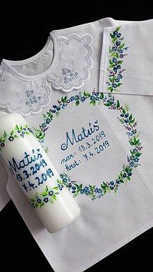 Detské oblečenie - maľovaná košieľka ku krstu - 10602679_