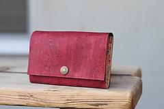 - Korková peňaženka M bordo - 10602124_