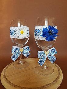Nádoby - folklórne svadobné poháre modré - 10599927_