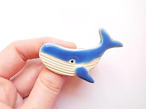 Odznaky/Brošne - Veľryba brošňa (modrá) - 10600136_