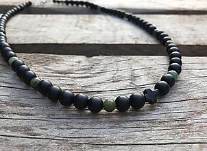 Šperky - Pánsky náhrdelník s krížikom - ónyx, achát - 10601600_