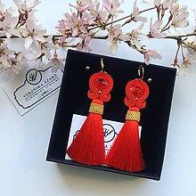 Náušnice - Ručne šité šujtášové náušnice / Soutache earrings - Swarovski  (Rose - červená) - 10599214_
