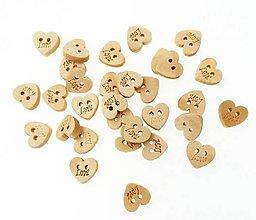 Galantéria - G174 Gombík drevený srdiečko LOVE - 10601858_