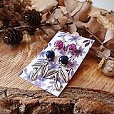 Náušnice - Elegantné trblietavé náušnice, fialová, sivá, modrá, lístky, striebro - 10601534_