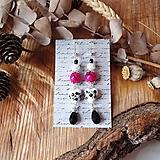 Náušnice - Pestré náušnice, keramické srdcia s cyklamenovou, čiernou, perleť, striebro - 10601562_