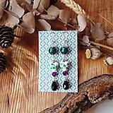 Náušnice - Romantické náušnice, keramické srdcia zelená, fialová, fólia, striebro - 10601596_