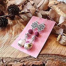 Náušnice - Keramické náušnice s ornamentom - prírodný kamienok, striebro - 10601655_