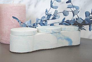 Nádoby - Betónový úložný mini box Locus Marble (Modrá) - 10599526_