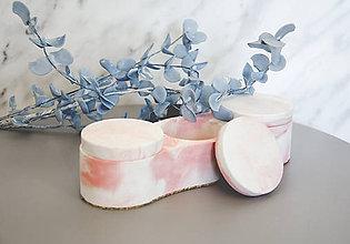 Nádoby - Betónový úložný mini box Locus Marble (Ružová) - 10599567_