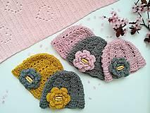 Detské čiapky - Jarná háčkovaná čiapka BELLA (bavlna & merino) - 0-3m (novorodenec) - 10602943_