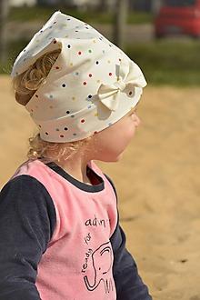 Detské čiapky - Letná šatka pružná Ivory dots - 10602780_