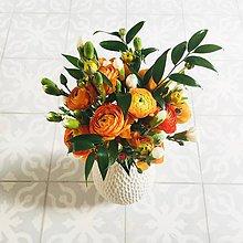 Dekorácie - oranžová gratulačná alebo svadobná kytica z iskerníkov - 10600704_