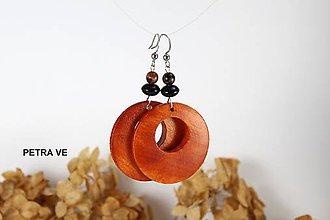 Náušnice - Drevené náušnice s prírodným kameňom - 10601672_