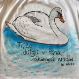 Detské oblečenie - Detské maľované tričko s labuťou a citátom - 10602025_