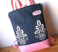 Batohy - Ružový z modrotlačou - 10599234_