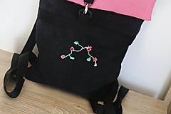 Batohy - Rolltop ružovo čierny s výšivkou - 10599833_