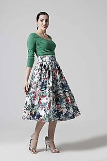 Sukne - Sukňa midi bavlnená so vzorom - 10603681_