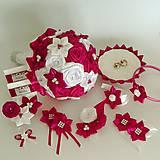 Kytice pre nevestu - Svadobný set na mieru, ružová - amarant - 10606480_