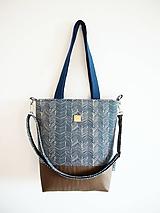 Veľké tašky - Veľká modrá minimal taška so sivohnedou - 10605990_