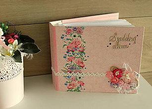 Papiernictvo - kvetinkový _svadobný fotoalbum - 10606892_