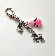 """Kľúčenky - Kľúčenka """"jednorožec"""" s minerálovým anjelikom - Jadeit - 10606121_"""