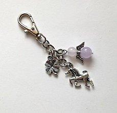 """Kľúčenky - Kľúčenka """"jednorožec"""" s minerálovým anjelikom - Jadeit - 10606122_"""