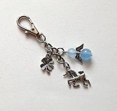 """Kľúčenky - Kľúčenka """"jednorožec"""" s minerálovým anjelikom - Jadeit - 10606125_"""