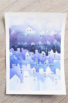 Obrazy - originál akvarel Domčeky - 10603553_