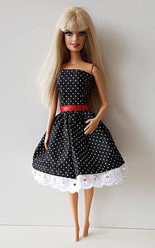 Hračky - Čiernobiele retro šaty pre Barbie - 10603811_