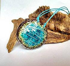 Náhrdelníky - Keramický šperk -Tyrkysové pleso- - 10605293_