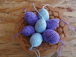 Dekorácie - Melírované vajíčka háčkované - malé 4,5cm (Modrá) - 10603685_