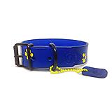 Pre zvieratká - Modrý obojok so žltými labkami a menom - 10603096_