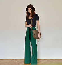 Nohavice - Zelené zvonové nohavice na štýl 70. rokov - 10605836_