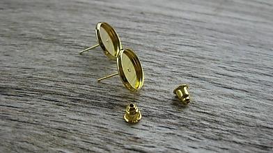 Komponenty - Kvalitné nerezové napichovačky, 12 mm lôžko, 1 pár (žlté zlato) - 10605431_