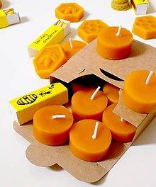 Svietidlá a sviečky - Včelie čajové sviečky + včelie zápalky - 10606822_
