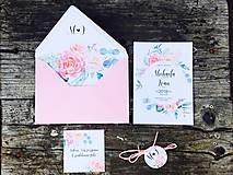 Papiernictvo - svadobné oznámenie Čajové ruže - 10603453_