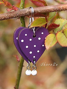 Náušnice - Heart dots // Lilac - 10605632_