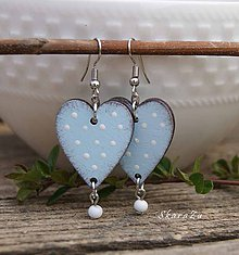 Náušnice - Heart dots // Light blue - 10606613_