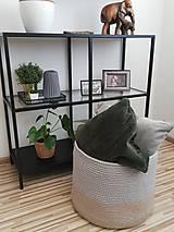 Košíky - Ručne háčkovaný kôš - 100% bavlna - rozmer 47x50 cm - 10603437_