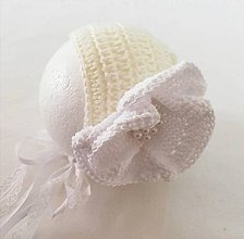 Detské čiapky - Vanilkový cepcek na krst - 10605531_