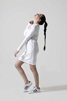 Šaty - Teplákové šaty biele - 10609173_