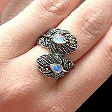 Prstene - Moonstone Feather Antique Silver Ring / Prsteň s mesačnými kameňmi #2068 - 10608067_