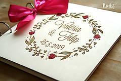 Papiernictvo - Svadobná kniha hostí, drevený fotoalbum - venček2 - 10607242_