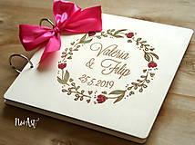 Papiernictvo - Svadobná kniha hostí, drevený fotoalbum - venček2 - 10607244_