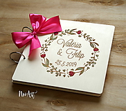 Papiernictvo - Svadobná kniha hostí, drevený fotoalbum - venček2 - 10607247_