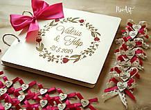 Papiernictvo - Svadobná kniha hostí, drevený fotoalbum - venček2 - 10607248_