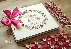 Papiernictvo - Svadobná kniha hostí, drevený fotoalbum - venček2 - 10607249_