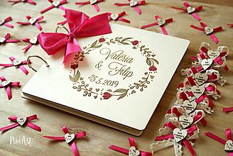 Papiernictvo - Svadobná kniha hostí, drevený fotoalbum - venček5 - 10607250_